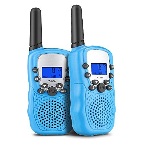 Walkie Talkies für Kinder, Mopoin Funkgerät Walki Talki 3KM Reichweite 8 Kanäle mit Taschenlampe Kinder Spielzeug – gespräch 2 Stück Blau