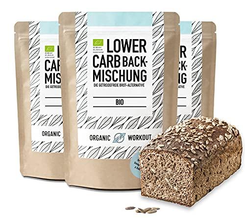 Organic Workout LOWER-CARB-BROTBACKMISCHUNG 3x350g – Bio, vegan, glutenfrei, Eiweiss-Brot-Alternative, Lebensmittel ohne Getreide, lactosefrei, keto
