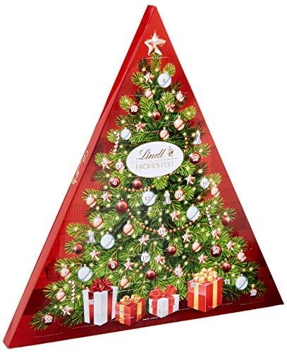 Lindt Tannenbaum Adventskalender, Vollmilch-, weiße- & feinherbe Schokolade mit zartschmelzender Füllung, 122 g