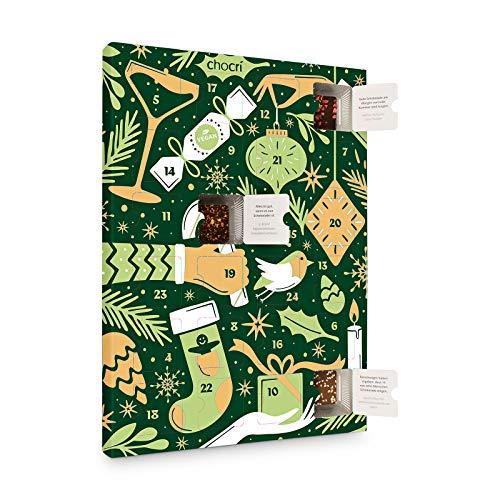 chocri 'Veganer Adventskalender' mit 24 veganen Mini-Schokoladen-Tafeln ohne tierischen Produkten mit winterlichen Zutaten - Fairtrade Kakao - Geschenk für Frauen