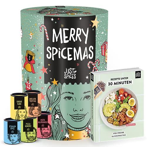 Just Spices Großer Gewürz Adventskalender 2021 I Weihnachtskalender mit 24 Gewürzmischungen + brandneues Kochbuch I Hochwertige Gewürze als Geschenk für Männer und Frauen I insgesamt 4,5 kg