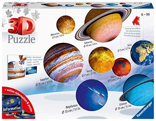 Ravensburger 3D Puzzle Planetensystem für Kinder ab 6 Jahren - 8 Puzzleball-Planeten als Sonnensystem Modell mit Poster - Modellbau ganz ohne Kleben