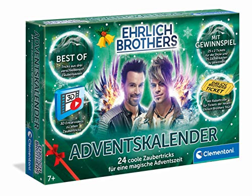 Clementoni 59180 Ehrlich Brothers Adventskalender der Magie 2021, magischer Weihnachtskalender mit 24 Zaubertricks, Zauberkasten für Kinder ab 7 Jahren, cooles Warten auf Weihnachten
