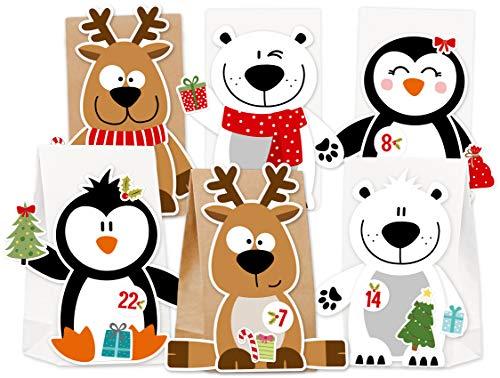 KuschelICH Adventskalender zum Befüllen Eisbär Rentier Pinguin - mit Stickern zum Gestalten und selber Basteln - wiederverwendbar (X-Mas-Friends)
