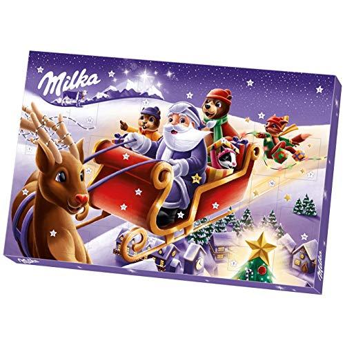 Milka Adventskalender mit Schokoladenfiguren mit Milchcrèmefüllung, Zwei zufällige Designs, 200g