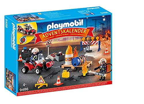 PLAYMOBIL Adventskalender 9486 Feuerwehreinsatz auf der Baustelle, Ab 4 Jahren [Exklusiv bei Amazon]