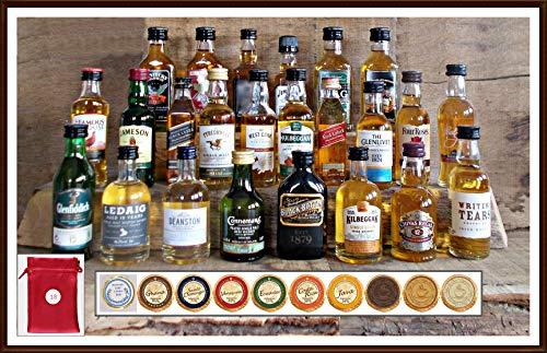 Adventskalender 24 Whisky Original Miniaturen 24 Edel Schokoladen 24 rote Satinbeutel kostenloser Versand