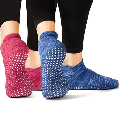 LA Active Yoga Socken - ABS Socken Damen & Herren für Sport, Schwangerschaft, Senioren & mehr - Antirutsch-Socken mit Noppen Gr. 34-47 - Multi (2 Paar)