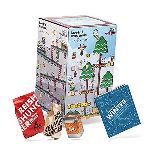 Reishunger Adventskalender 2021 - zum Winterlichen Kochen & Schlemmen - inkl. Kreativem Kochbuch - Schokolade, Gewürze, Saucen, Reis uvm.