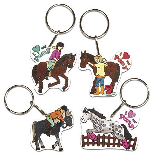RAYHER HOBBY 75354000 - Schrumpffolien-Set My Pony, 4 Motive mit Schlüsselring, 8-teilig
