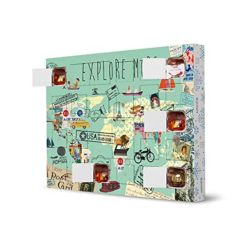 artboxONE Adventskalender XXL mit Pralinen von Ferrero Weltkarte - Explore More Adventskalender Reise/Länder