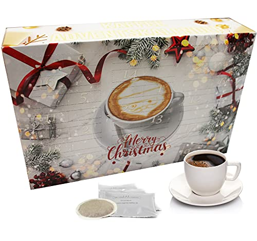 "C&T Kaffee Adventskalender 2021 ""Klassik II"" (Gold, Kaffeepads)   24 Senseo kompatible Pads aus aller Welt   Weihnachts-Kalender mit kostenloser Infobroschüre"