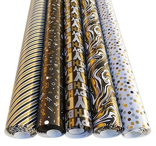 Geburtstag Geschenkpapier Set 5 Rollen 2m x 70cm Schwarz Gold Edel - Edle Geschenk Verpackung Party oder Hochzeiten, Geburtstage und Jubiläen