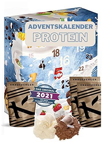 Protein Adventskalender 2021 I 24 x 20g verschiedene Proteinpulver I Geschenkidee für Fitnessbegeisterte I Eiweiß Protein Kalender für Sportler Erwachsene Muskelmänner