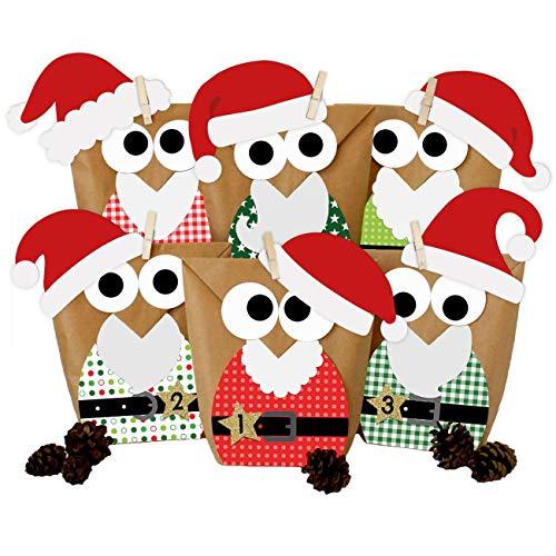 Papierdrachen DIY Adventskalender zum Befüllen - Weihnachtseulen - Eulen Weihnachten 2021 - Set Rot Nikolaus - zum selbst basteln - für Kinder