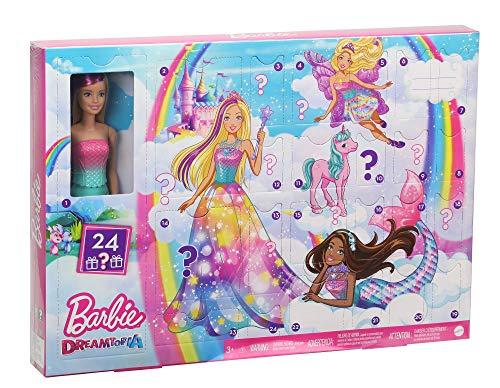 Barbie GJB72 - Dreamtopia Adventskalender mit Puppe und Zubehör, Puppen Spielzeug und Adventskalender Mädchen ab 3 Jahren