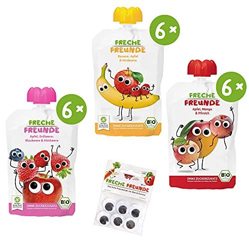 Freche Freunde Bio Quetschie-Paket '100% Frucht' PLUS 1x Wackelaugen, Fruchtmus im Quetschbeutel, 18er Pack (18 x 100g)