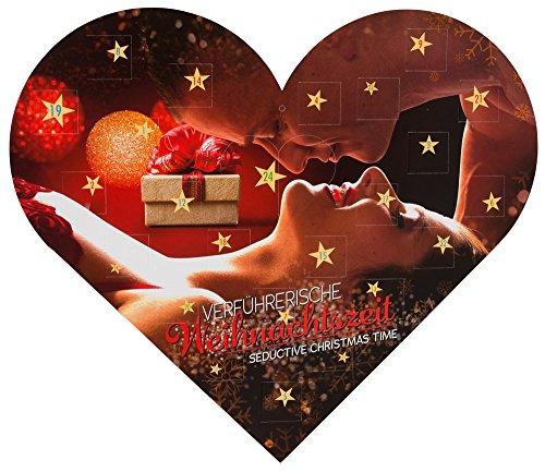 Erotischer Advenrskalender - Sexy Adventskalender - Verfüherische Weihnachtszeit - Adventskalender aus Pappe in Herz Form