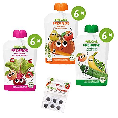 Freche Freunde Bio Quetschie-Paket mit frechem Gemüse PLUS 1x Wackelaugen, Frucht-& Gemüsemus im Quetschbeutel, 1.8 kg