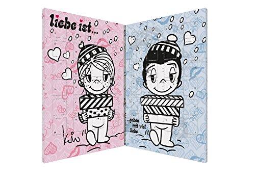 Liebe ist… ist ... süßer Partner Adventskalender für Pärchen mit 150g Vollmilchschokolade im liebevollen Design