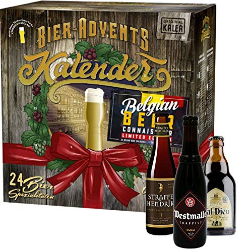 KALEA Bier Adventskalender 24 Biere von belgischen Kloster- und Trappisten Brauereien und 1 Bierglas