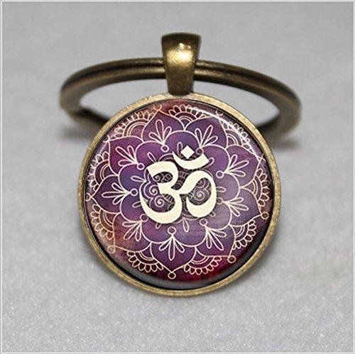 Schlüsselanhänger mit Baum des Lebens, Yoga, Om, Aum, Zen, Meditation, Buddhismus, violetter Schlüsselanhänger, einzigartiger Schlüsselanhänger, individuelles Geschenk, alltagstaugliches Geschenk