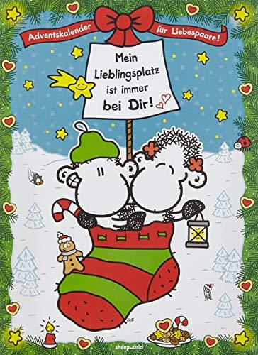 Sheepworld 49754 Adventskalender für Liebespaare mit Spruch Mein Lieblingsplatz ist immer bei Dir, 1er Pack (1 x 150 g)