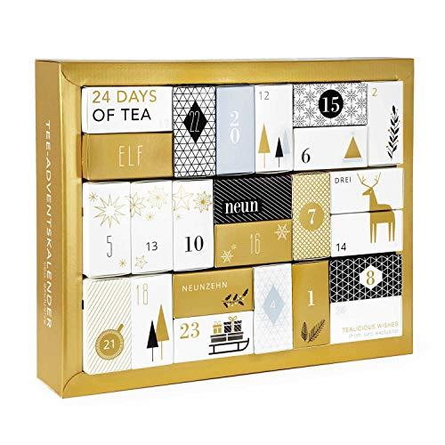 Erlebnis Tee Adventskalender 'Gold Edition' - Design Adventskalender mit 24 Premium losen Tees und vielen weiteren Überraschungen 286 g
