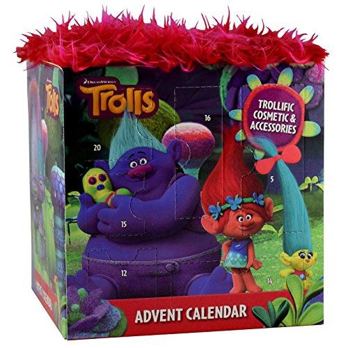 Trolls Adventskalender mit echten Schminkartikeln und Accessoires in Würfelform