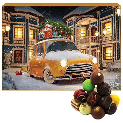 Hallingers 24 Pralinen-Adventskalender, teilweise mit Alkohol (300g) - It's Christmas (Advents-Karton) - Weihnachten 2021, Für Sie#Für Ihn