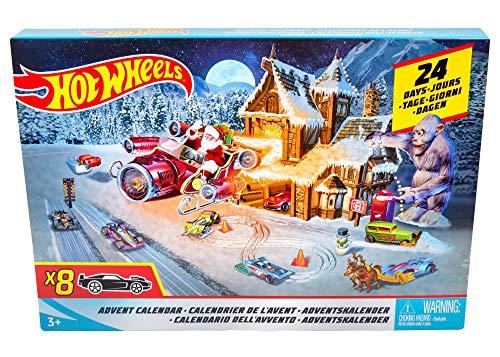 Hot Wheels FKF95 - Adventskalender 2018, mit 8 Spielzeugautos und 16 Zubehörteilen, Spielzeug ab 3 Jahren