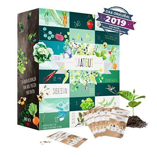 Saatgut Adventskalender mit 24 delikaten Sorten Kräuter und Gemüse zum Säen im Garten oder Topf I Geschenkset für Gärtner Gartenfreunde Frauen Mütter