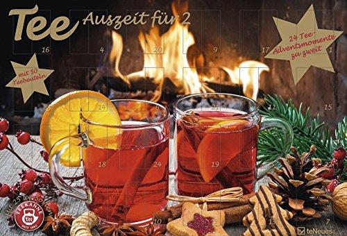 Tee-Adventskalender für Zwei - Pärchen-Adventskalender, 24 Türchen und 50 Aufgussbeutel - 56 x 38 x 2 cm: TEEKANNE Adventskalender