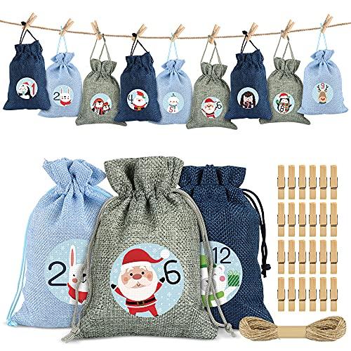 Sprinlot 24 Adventskalender zum Befüllen, Weihnachtskalender Bedruckter Stoffbeutel, Adventskalender Säckchen Wiederverwendbar, Weihnachtskalender Tüten, Weihnachtskalender Jutesack