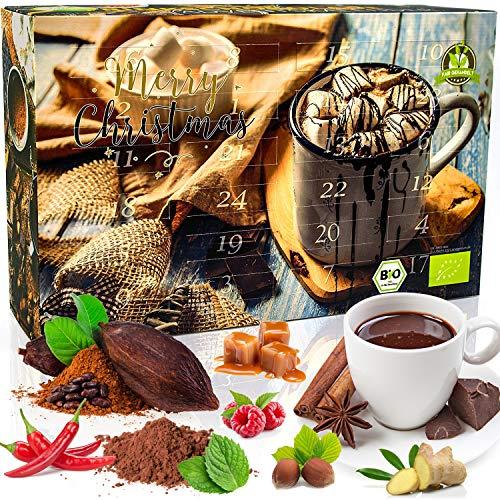 C&T Trinkschokolade Adventskalender 2020 Bio | 2x12 Sorten feinstes Schokoladenpulver aus 100% ökologischem Anbau | Kakao Trinkschoko Weihnachtskalender zum selber machen