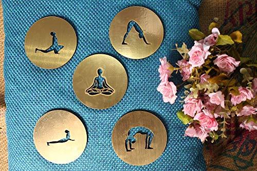 Yoga-Geschenk, Geschenk für Yoga-Lehrer, Set mit 5Untersetzern für Teetassen, Untersetzer mit Meditationsthema, Design: Surya Namaskar, Yogi-Geschenk