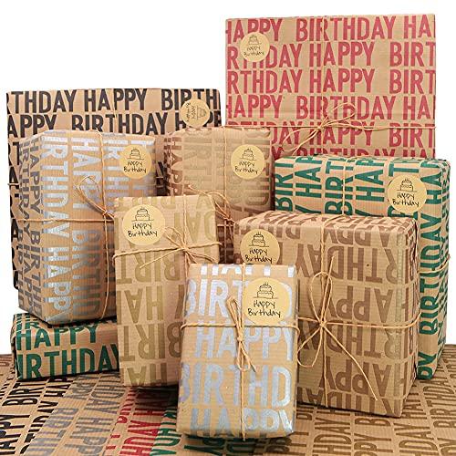 Kraft Geschenkpapier Geburtstag, Recycling-Geschenkpapier, 12 Blatt 70 * 50 cm braunes gefaltetes Papier mit Jutesaiten, Aufklebern und Schleifen für alle Geburtstagsanlässe