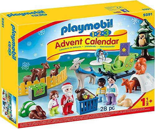 PLAYMOBIL Adventskalender 9391 Waldweihnacht der Tiere mit weihnachtlichen Figuren, Tieren und Zubehör hinter jedem Türchen, 28-teilig, Ab 1,5 Jahren