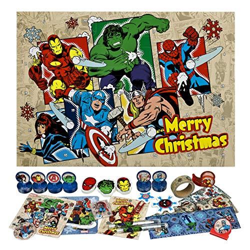 Undercover AVER8024 Adventskalender für Kinder mit 24 Schreibwaren Überraschungen, Cooles Marvel Avengers Motiv, ca. 45 x 32 x 3 cm