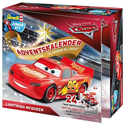 Revell Junior Kit 01016 - Adventskalender Lightning McQueen, Disney Cars 3 - 24 Tage cooler Bastelspaß, der Bausatz mit dem Schraubsystem für Kinder ab 4 Jahren, zum Bauen und Spielen