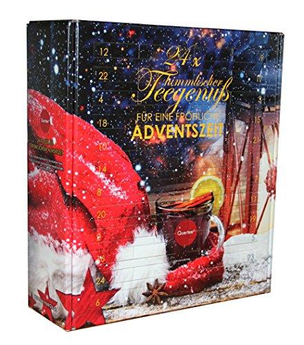 Quertee - Tee Adventskalender mit 24 Türchen - 24 x loser Tee für einen Kannenaufguß - 24 x 15 g Tee - 360 g Tee insgesamt
