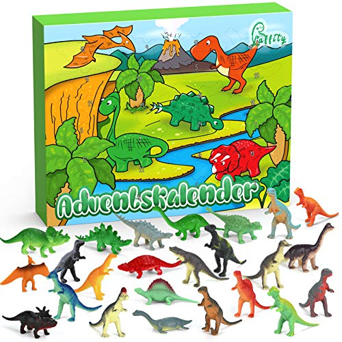 Laffity Adventskalender Dinosaurier 2021, 24 Stücke Verschiedene Überraschungen Dinosaurier Spielzeug für Kinder, Kinder Jungen Mädchen Weihnachtskalender Geschenke