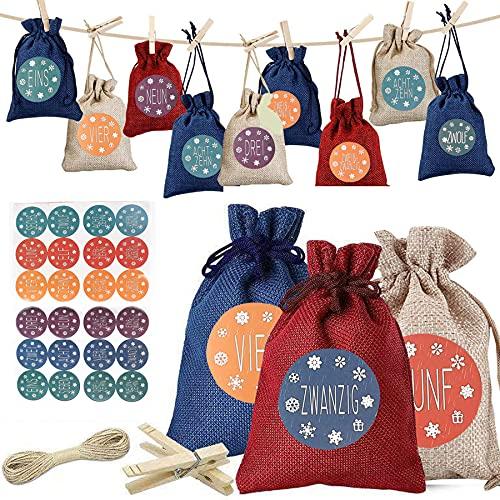 JINOO 24 Adventskalender Zum Befüllen mit 24 Adventszahlen Aufkleber,Weihnachtskalender tüten Geschenkbeutel Jutesäckchen Bastelset für Männer Kinder