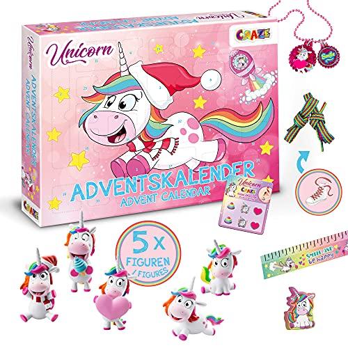 CRAZE Adventskalender UNICORN Einhorn Weihnachtskalender für Mädchen Spielzeug Kalender tolle Spielfiguren 14028