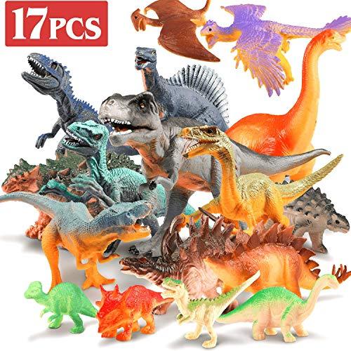 UNEEDE 17 Stücke Dinosaurier Spielzeug Figuren Klein Realistische Dinosaurier Spielzeug Dinosaurier Figur Modell für Kindergeburtstag Party Dekoration, 4 Kleine Dinosaurier Farben ist Zufällig